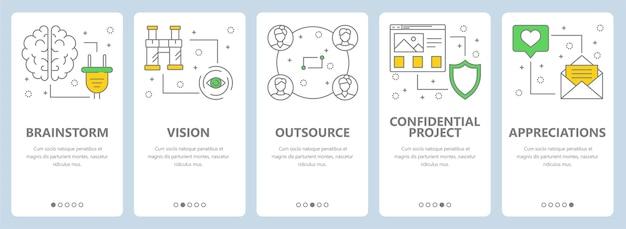 Set van project management concept verticale banners. brainstorm, visie, uitbesteden, vertrouwelijk project, websjablonen voor waardering. moderne dunne lijn platte symbolen, pictogrammen voor web, print.