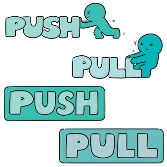 Set van push pull teken