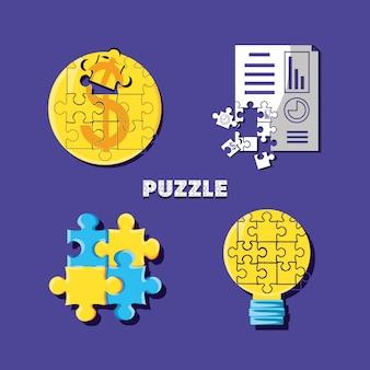 Set van puzzelstukjes