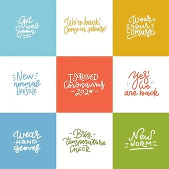 Set van quarantaine handgetekende unieke typografie design. handgeschreven motiverende letters. moderne lineaire kalligrafie.