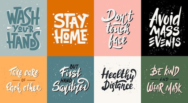 Set van quarantaine uniek typografieontwerp