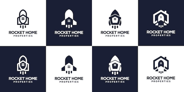 Set van raket huis logo-ontwerp