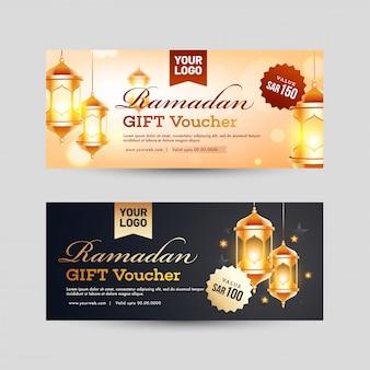Set van ramadan-cadeaubon met de beste aanbiedingen en verlichte lan