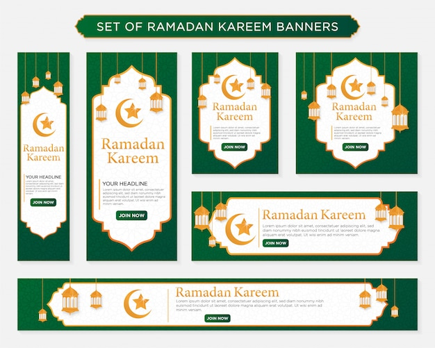 Set van ramadan kareem banners