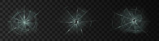 Set van realistisch gebroken glas met gaten. beschadigd glas van raam of deurruit en voorruit geïsoleerd op donkere achtergrond. 3d vectorillustratie