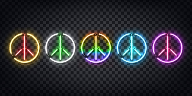 Set van realistisch neonteken van peace-logo voor decoratie en bedekking op de transparante achtergrond. concept van happy international peace day.