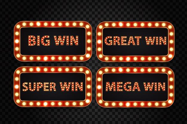 Set van realistisch retro neon reclamebord voor casinowinst met gloeiende lampen op de transparante achtergrond. concept van winnaar, loterij, casino en prijsuitreiking.