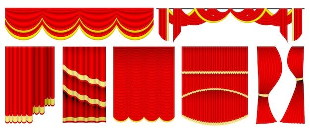 Set van realistisch rood theater of gordijn rood blind gordijn podium of rood theater achtergrond illustrati