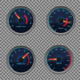 Set van realistisch sensorpaneel met pijlen