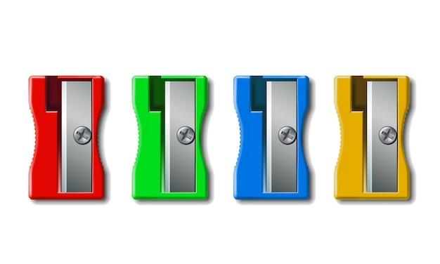 Set van realistische 3d kleurrijke plastic puntenslijper geïsoleerd op een witte achtergrond voor schoolartikelen. vectorillustratie
