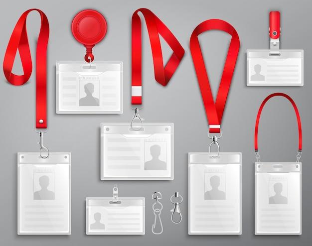 Set van realistische badges id-kaarten op rode lanyards met riemclips, koord en gespen illustratie