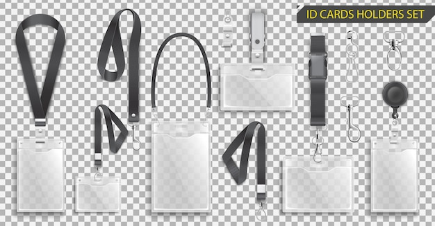 Set van realistische badges id-kaarthouders op zwarte lanyards met riemclips, koord en gespen illustratie