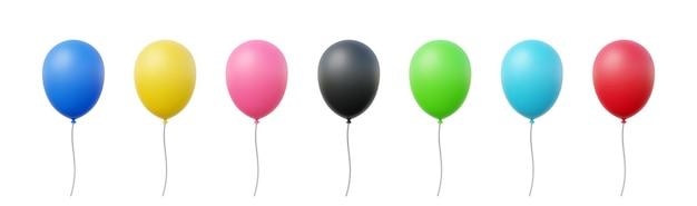 Set van realistische ballonnen. blauw, geel, roze, zwart, groen en rood.