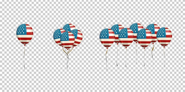 Set van realistische ballonnen met amerikaanse vlag voor decoratie en bekleding op de transparante achtergrond.