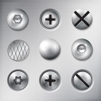 Set van realistische bevestigde bevestigingsmiddelen schroeven bouten nagels op metalen textuur geïsoleerd