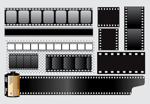 Set van realistische bioscoop klepel bord geïsoleerd of filmstrip bioscoop 35 mm type