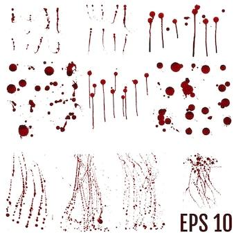 Set van realistische bloederige splatters. drop en klodder bloed. bloed