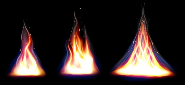Set van realistische brand vlammen elementen instellen