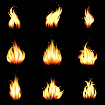 Set van realistische branden
