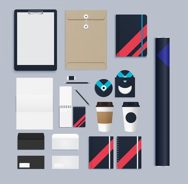 Set van realistische branding briefpapier mock up