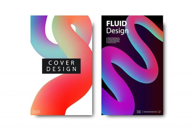 Set van realistische brochure met vloeibare en lavalampvormen voor decoratie en bekleding op de witte achtergrond.