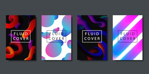 Set van realistische brochures met vloeibare vloeibare vormen met geometrische gradiënt voor decoratie en bedekking op de donkere achtergrond.