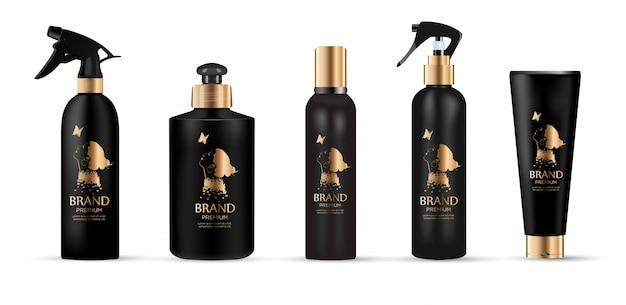 Set van realistische cosmetica met gouden logo