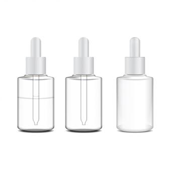 Set van realistische cosmetische container, buis voor zalf. fles op witte achtergrond. gel, balsem, voor label