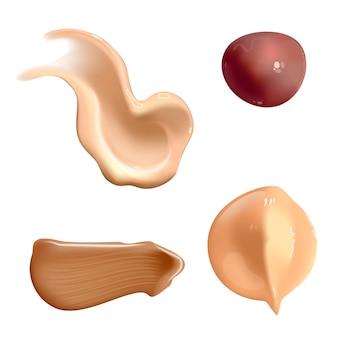 Set van realistische cosmetische crème smeert huidtoner van verschillende lichaamskleuren lotion glad uitstrijkje isola ...