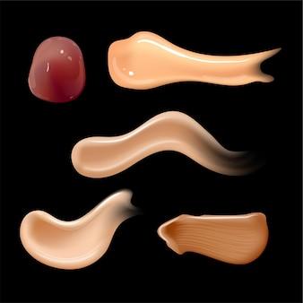 Set van realistische cosmetische crème smeert huidtoner van verschillende lichaamskleuren lotion glad uitstrijkje