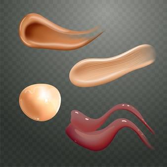 Set van realistische cosmetische crème smeert huidverzorgingsproduct van verschillende lichaamskleuren lotion glad uitstrijkje