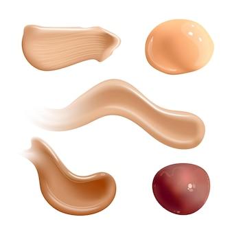 Set van realistische cosmetische crème uitstrijkjes huidtoner van verschillende lichaamskleuren lotion glad uitstrijkje geïsoleerd