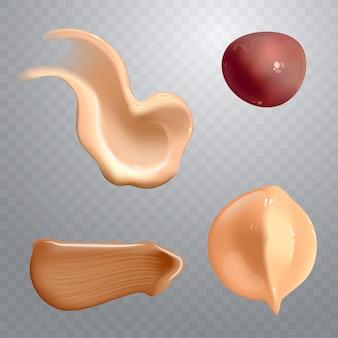 Set van realistische cosmetische crème uitstrijkjes huidverzorgingsproduct van verschillende lichaamskleuren lotion glad uitstrijkje geïsoleerde vector textuur op transparante achtergrond