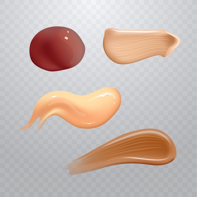 Set van realistische cosmetische crème uitstrijkjes. huidverzorgingsproduct van verschillende lichaamskleuren.