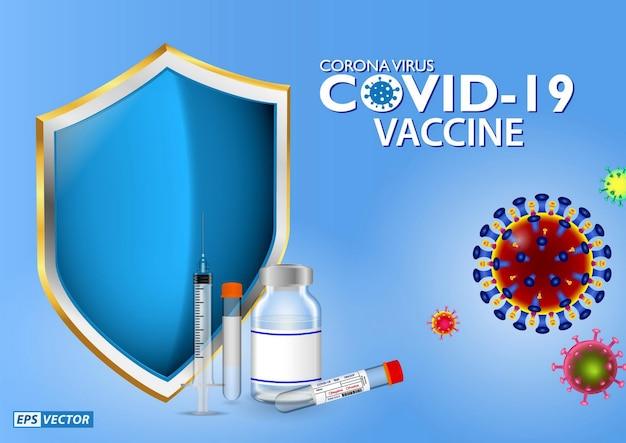 Set van realistische covid19-vaccininjectie of realistische vaccinampulspuit of covid19