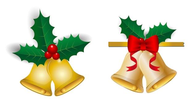 Set van realistische decoratieve kerst geïsoleerd of ontwerp element kerst thema of kerst lint