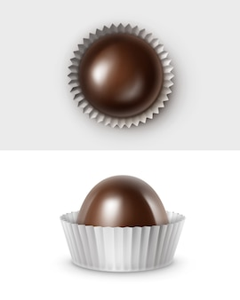 Set van realistische donkerzwarte bittere chocoladesuikergoed in witte glanzende gegolfde papper wrapper bovenaanzicht close-up geïsoleerd
