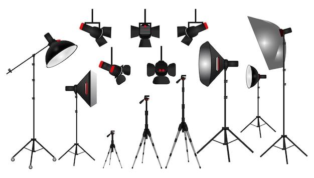 Set van realistische fotostudio witte blanco achtergrond geïsoleerd of instellen fotoscène softbox light