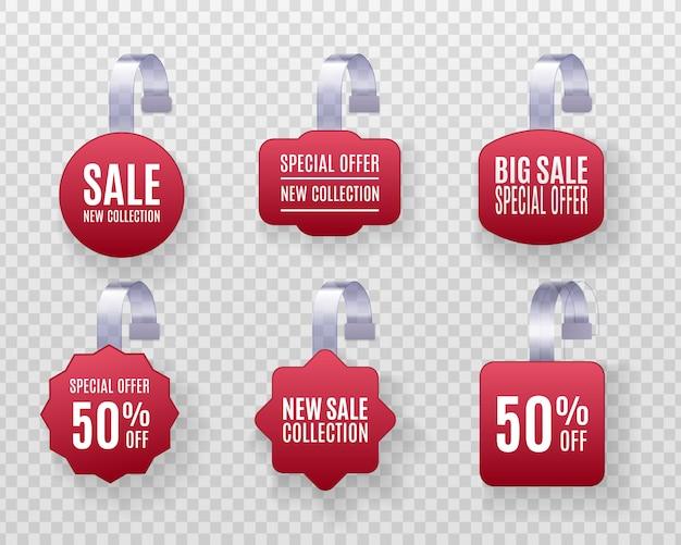 Set van realistische gedetailleerde 3d-rode weifelaar promotie verkoop etiketten geïsoleerd op een transparante achtergrond. kortingssticker, speciale aanbieding, plastic prijsbanner, label voor uw ontwerp.
