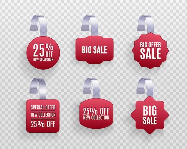 Set van realistische gedetailleerde 3d-rode weifelaar promotie verkoop etiketten geïsoleerd op een transparante achtergrond.