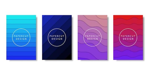 Set van realistische geïsoleerde brochure met papier gesneden laag ontwerp