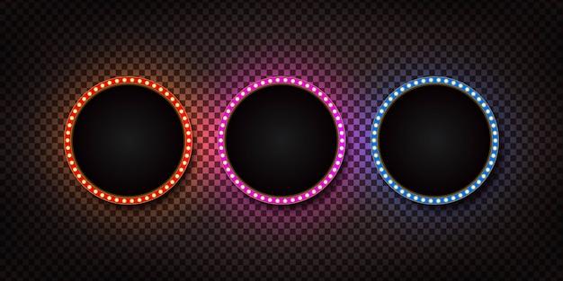 Set van realistische geïsoleerde cirkel retro selectiekader billboard.