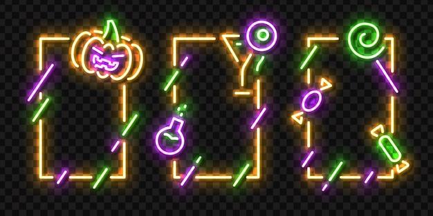 Set van realistische geïsoleerde neon teken van halloween frames-logo