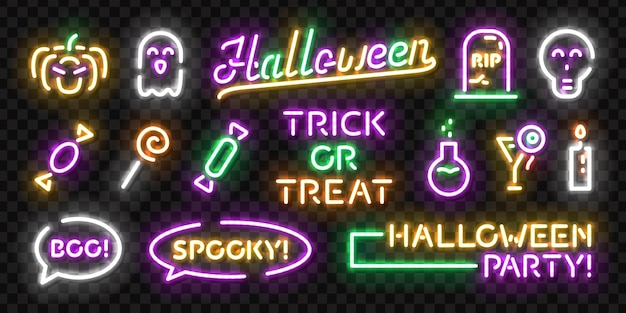 Set van realistische geïsoleerde neon teken van halloween-logo