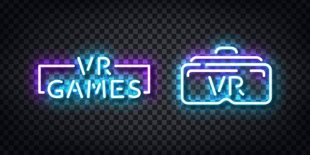Set van realistische geïsoleerde neonreclame van vr games