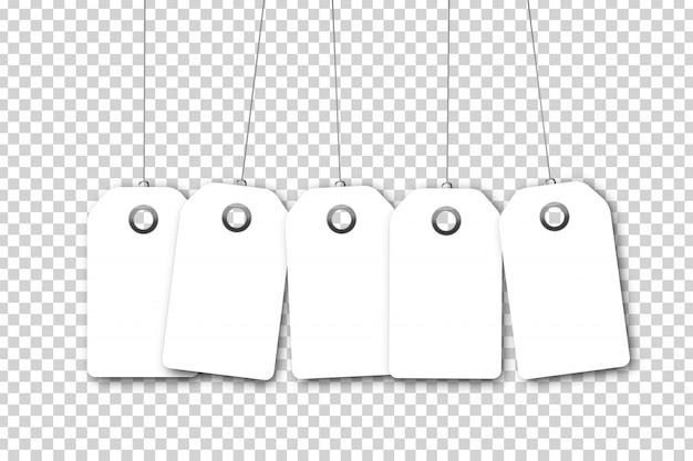Set van realistische geïsoleerde witte lege prijskaartje coupons voor decoratie en bekleding op de transparante achtergrond. concept van korting en verkoop.