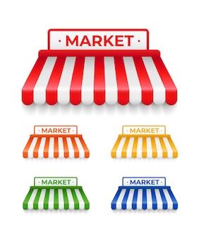Set van realistische gestreepte markt daken geïsoleerd op wit