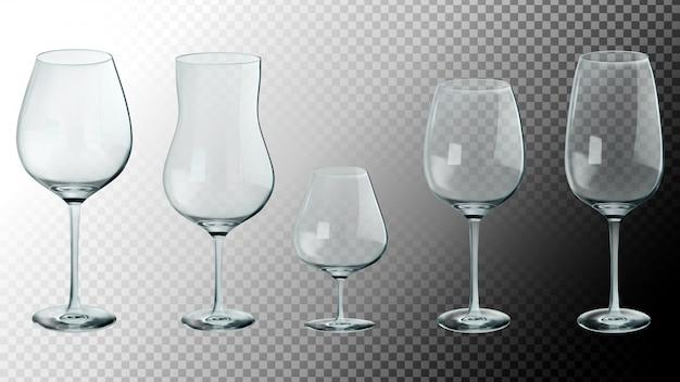 Set van realistische glazen.