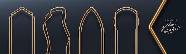 Set van realistische gouden metalen bogen 3d gouden architecturale elementen