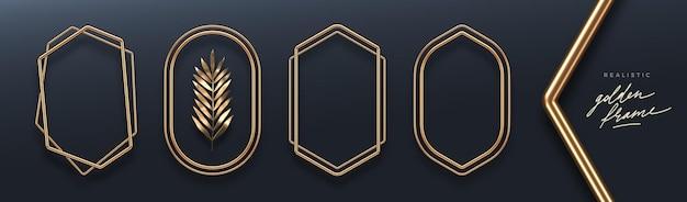 Set van realistische gouden metalen frames 3d gouden banners